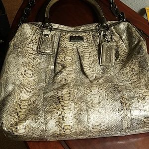 Coach animal print mettalic leather tote